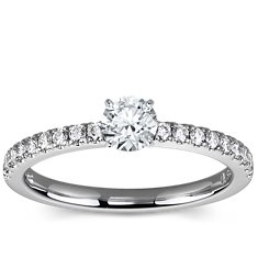 Petite Pavé Diamond Engagement Ring in 14k White Gold