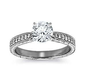 Hand Engraved Micropavé Diamond Engagement Ring in 14k White Gold