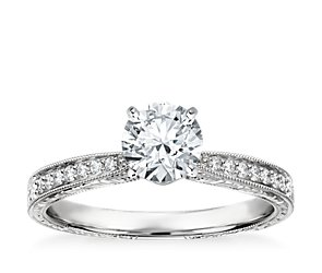 Hand Engraved Micropavé Diamond Engagement Ring in 14k White Gold (1/6 ct. tw.)