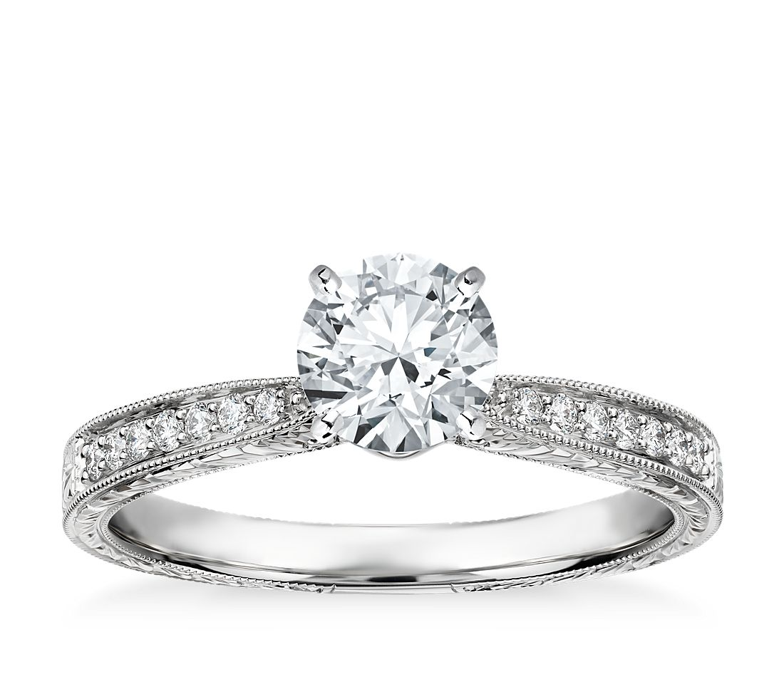 Hand Engraved Micropave Diamond Engagement Ring in 14k White Gold (1/6 ct. tw.)