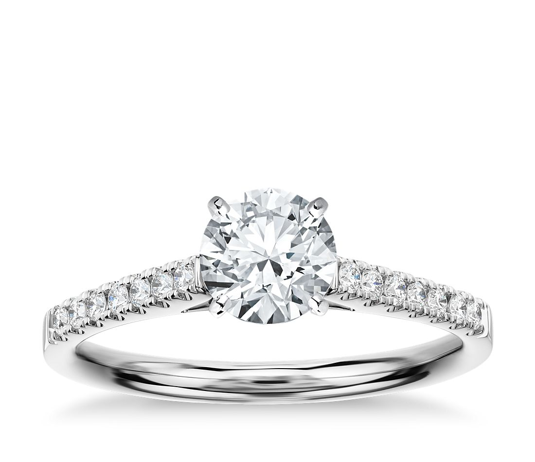 Petite Cathedral Pave Diamond Engagement Ring in 18k White Gold (1/6 ct. tw.)