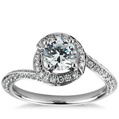 Halo Pavé Diamond Engagement Ring in Platinum (1/2 ct. tw.)