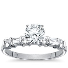 Round and Baguette Diamond Engagement Ring in Platinum (3/8 ct. tw.)