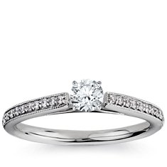 Heirloom Petite Cathedral Pavé Diamond Engagement Ring in Platinum
