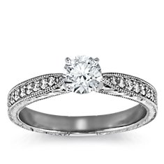 Hand Engraved Micropavé Diamond Engagement Ring in Platinum (1/10 ct. tw.)