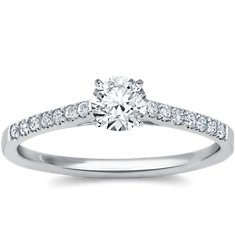 Petite Cathedral Pavé Diamond Engagement Ring in Platinum (1/6 ct. tw.)