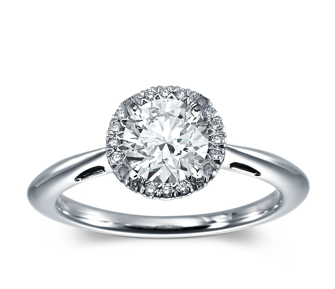 Halo Diamond Engagement Ring in Platinum (1/10 ct. tw.)