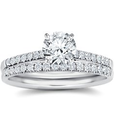 Petite Cathedral Pavé Diamond Engagement Ring and Band in Platinum (1/3 ct. tw.)
