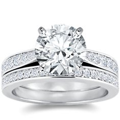 Cathedral Pavé Diamond Engagement Ring and Band in 18k White Gold (2/5 ct. tw.)