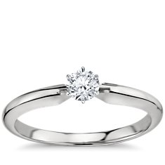 Classic Six Prong Engagement Ring in 18k White Gold