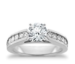 Channel Set Diamond Engagement Ring in 18k White Gold (1/2 ct. tw.)
