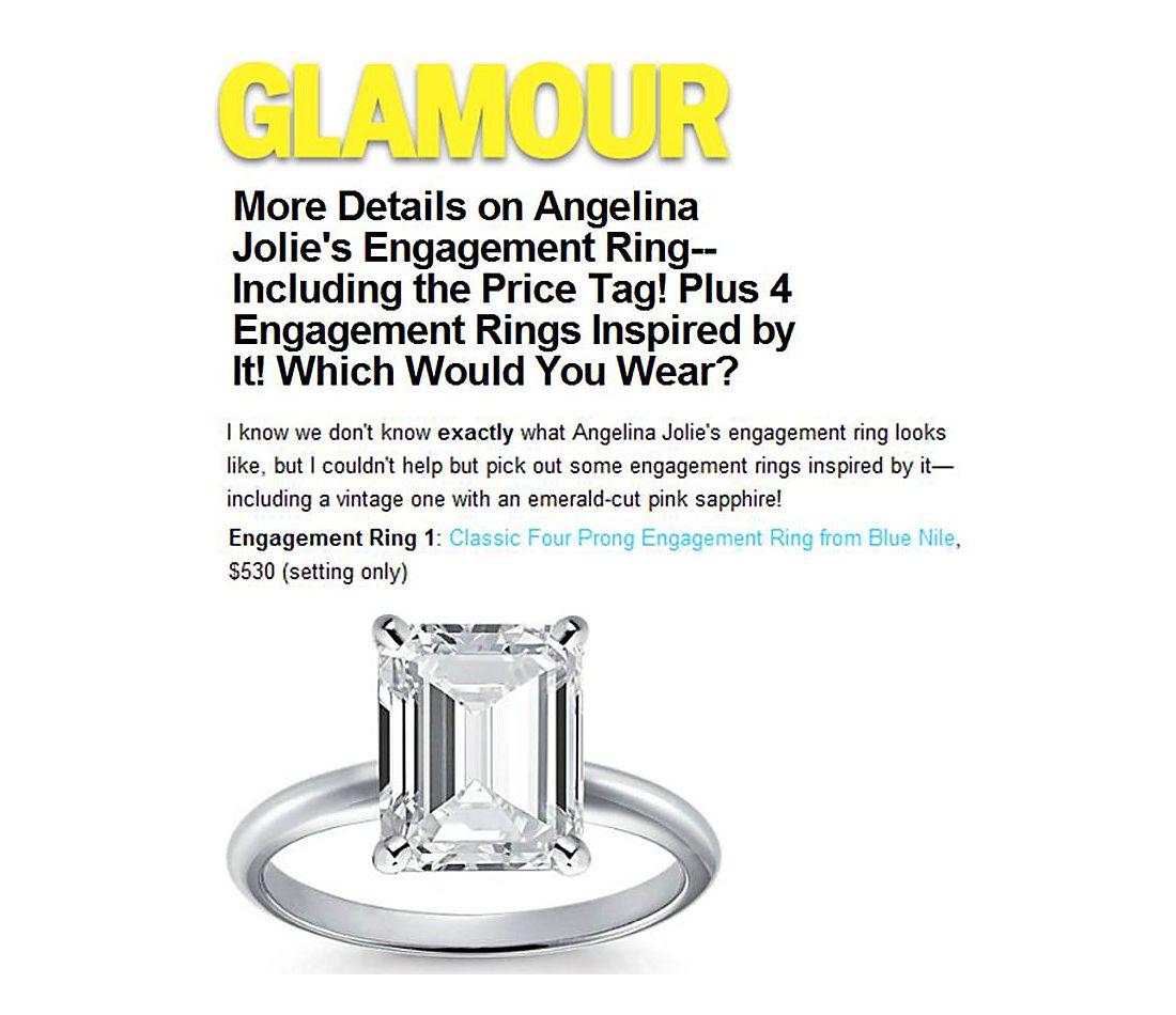 Glamour.com - 4 Bagues de fiançailles inspirées par la bague de fiançailles d'Angelina Jolie