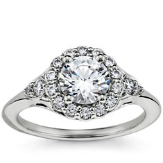 Flora Vida(TM) Halo Diamond Engagement Ring in Platinum