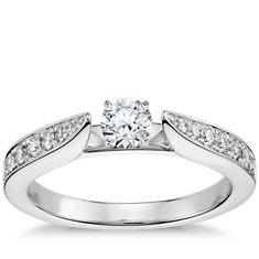 Petite Nouveau Solitaire Six Claw Engagement Ring in Platinum