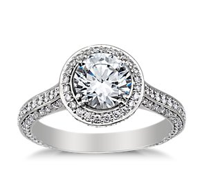 Heirloom Halo Micropave Diamond Engagement Ring in Platinum (5/8 ct. tw.)