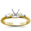 Trio Princess Cut Pavé Diamond Engagement Ring in 14k White Gold