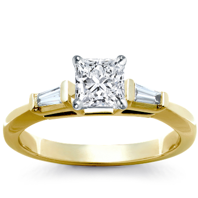 Trio Princess Cut Pave Diamond Engagement Ring in 14k White Gold
