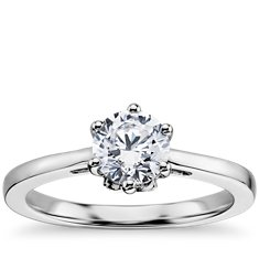 Leaf Solitaire Engagement Ring in 14k White Gold