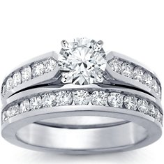 Channel Set Diamond Engagement Ring and Band in 18k White Gold (1 ct. tw.)