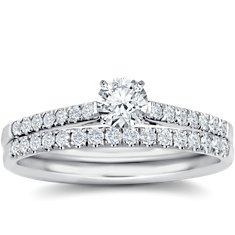 Petite Pavé Diamond Engagement Ring and Band in 18k White Gold (1/6 ct. tw.)