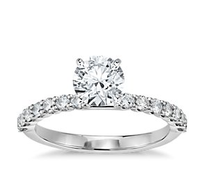 U-Prong Set Diamond Engagement Ring in 14K White Gold (1/3 ct. tw.)