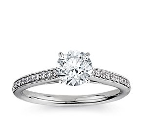 Heirloom Petite Cathedral Pavé Diamond Engagement Ring in 14k White Gold