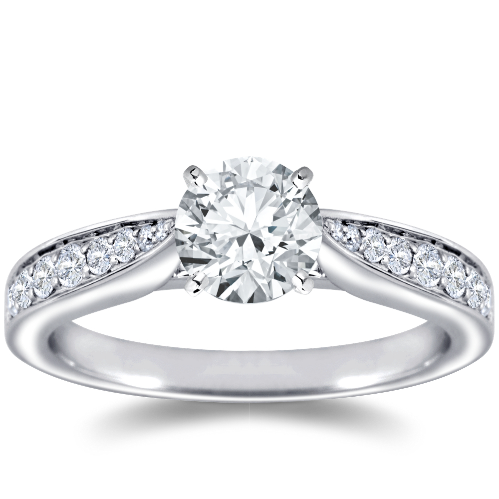 Cathedral Pave Diamond Engagement Ring in 18k White Gold