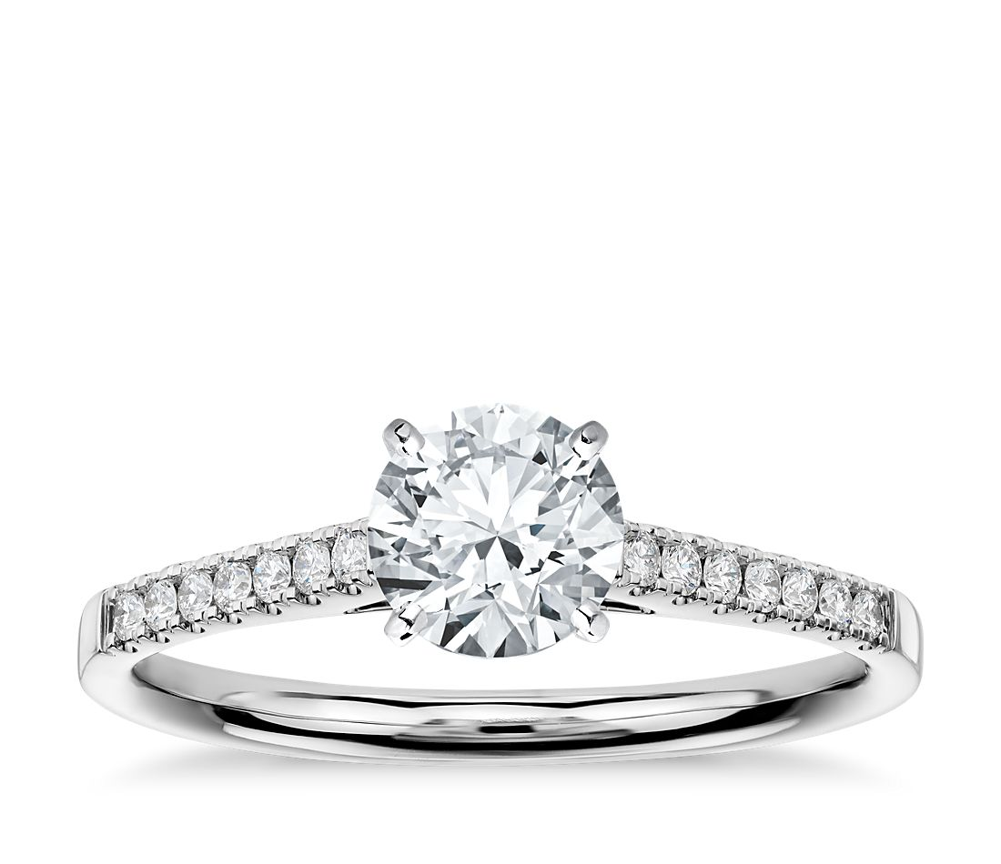 Petite Cathedral Pave Diamond Engagement Ring in 14k White Gold (1/6 ct. tw.)