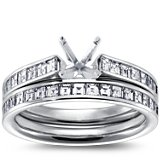 Channel Set Asscher Cut Diamond Engagement Ring and Band in Platinum (1 1/10 ct. tw.)