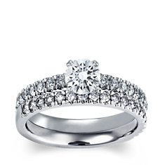 Nouveau Diamond Engagement Ring and Band in Platinum (5/8 ct. tw.)