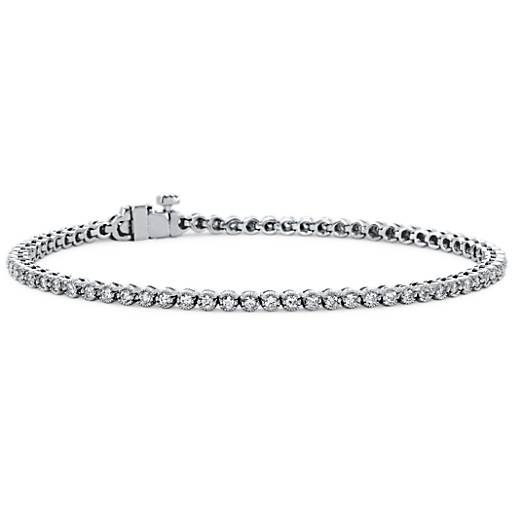 Bracelet tennis diamants en or blanc 18 carats (1 carat, poids total)