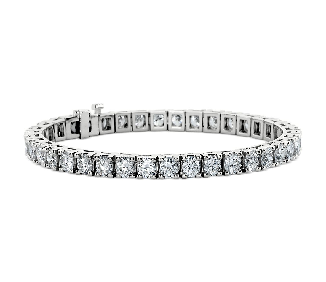 Bracelet tennis diamants en or blanc 18 carats (10 carats, poids total)