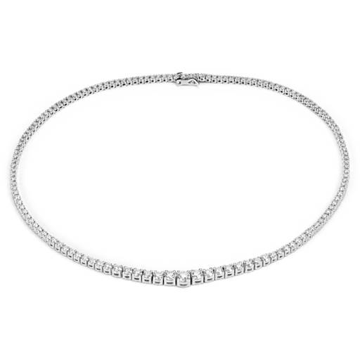 NEW Diamond Eternity Necklace in 18k White Gold - F / VS2 (9.5 ct. tw.)