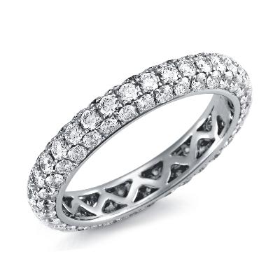 Pavé Diamond Eternity Ring in 18k White Gold (2 ct. tw.)