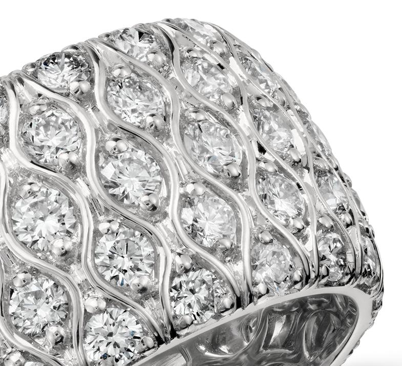 Bague d'éternité diamant taille radiant en platine