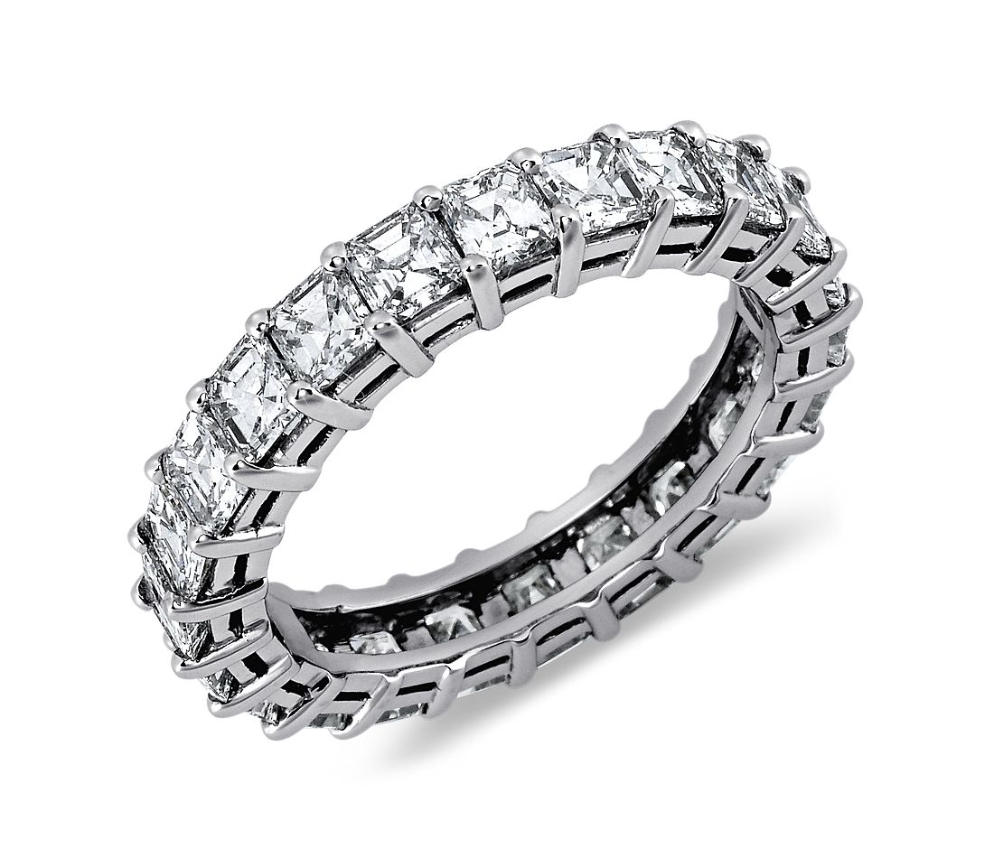 Asscher Cut Diamond Eternity Ring in Platinum (3 ct. tw ...