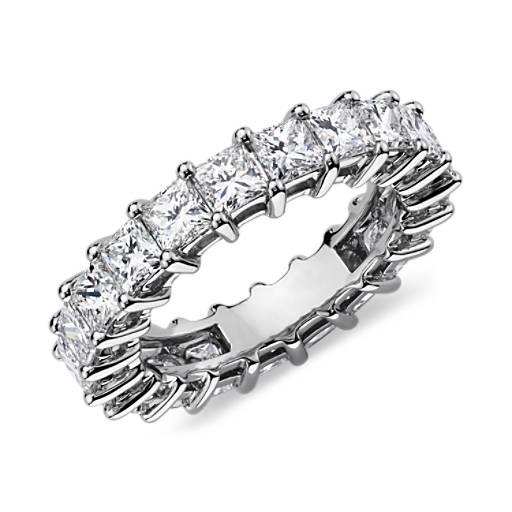 Bague d'éternité diamant taille princesse en platine (4carats, poids total)