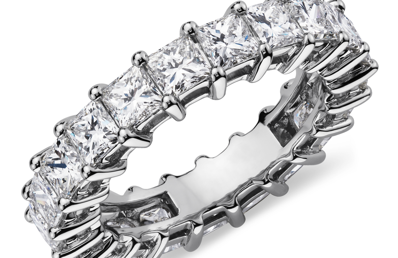 Princess-Cut Diamond Eternity Rings in Platinum