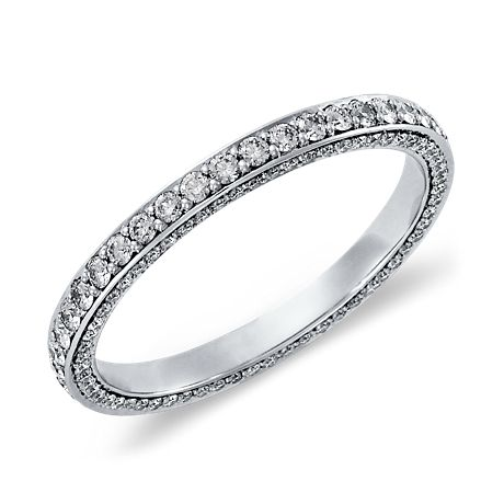 Trio Micropavé Diamond Eternity Ring in Platinum (.85 ct. tw.)