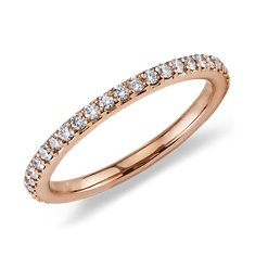 Bague d'éternité diamants sertis pavé en Or Rose 18 ct dans Huffington Post