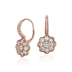 Blue Nile Studio Diamond Floral Drop Earrings in 18k Rose Gold