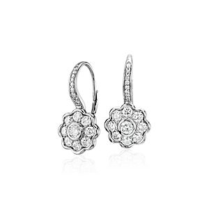 NEW Blue Nile Studio Diamond Floral Drop Earrings in 18k White Gold (1.39 ct. tw.)