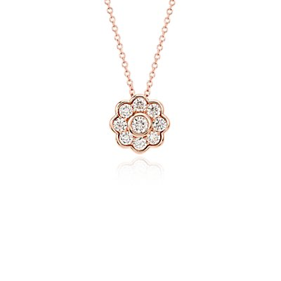 Pendentif floral en diamant Blue Nile Studio en or rose 18carats (3/4carat, poids total)