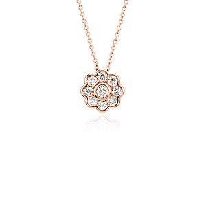 Blue Nile Studio Diamond Floral Pendant in 18k Rose Gold (3/4 ct. tw.)