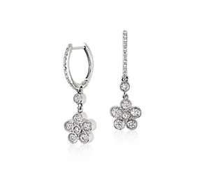 Diamond Flower Drop Earring in 14k White Gold