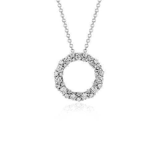 Diamond Garland Circle Pendant in 18k White Gold