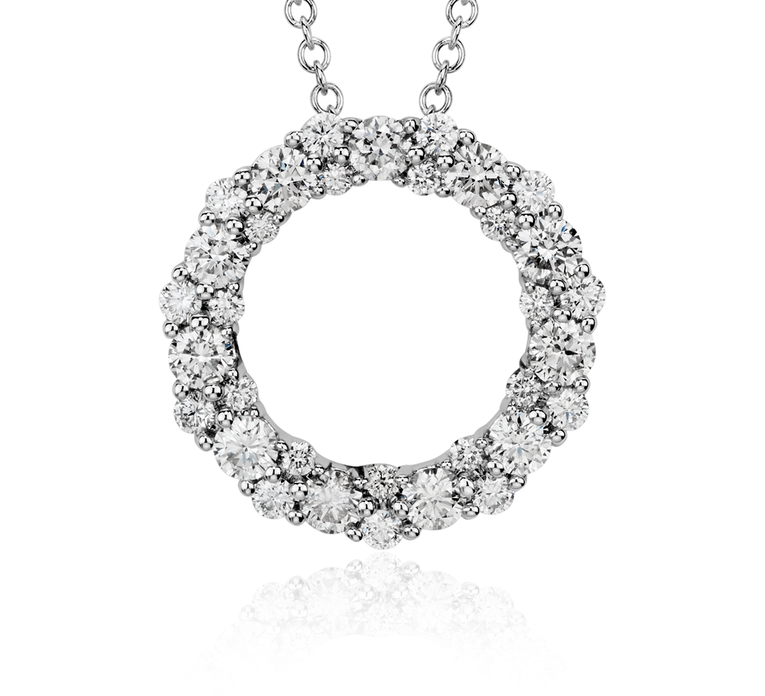 Diamond Garland Circle Pendant in 18k White Gold (1 ct. tw.)