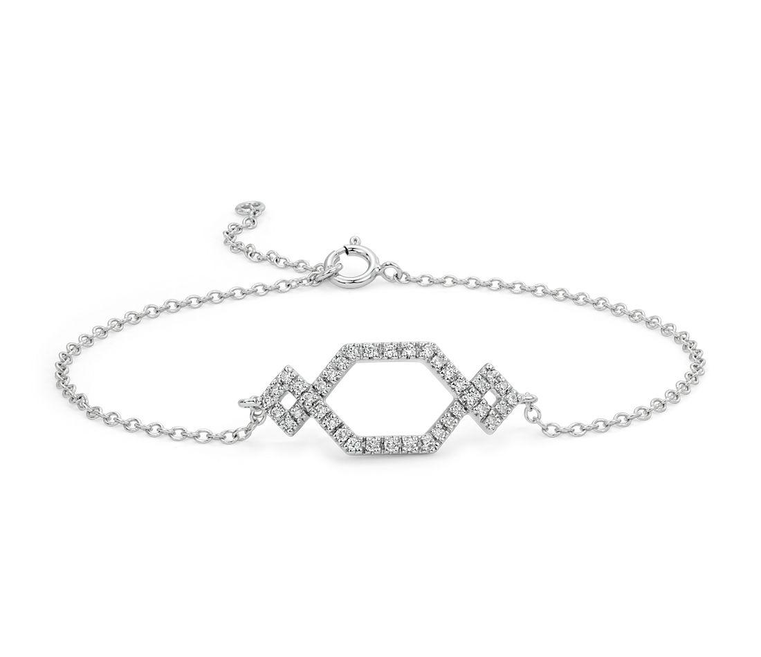 Diamond Geometric Bracelet in 14k White Gold