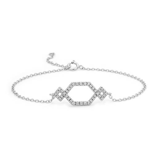 Diamond Geometric Bracelet in 14k White Gold (1/6 ct. tw.)