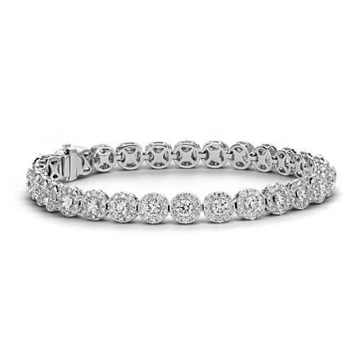 Diamond Halo Bracelet in 18k White Gold